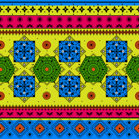 tribal pattern: Colorful Indian tribal seamless pattern in vector Illustration