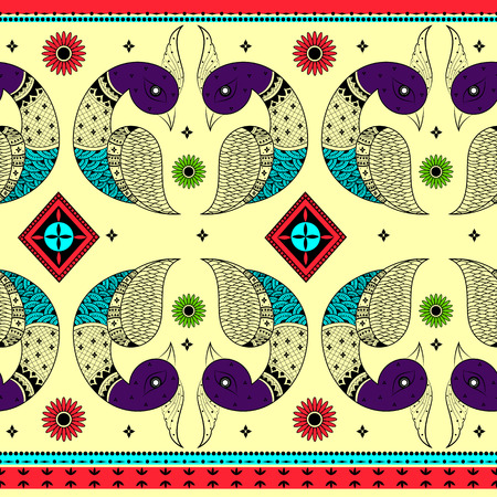 kitsch: Colorful Indian tribal seamless pattern in vector Illustration
