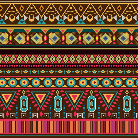 traditional pattern: Colorful tribal geometric Aztec seamless pattern in vector