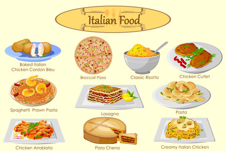 Collection of delicious Italian food in vector