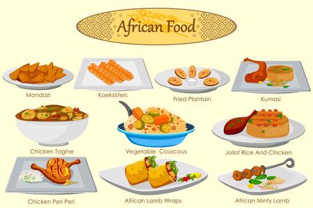 Colección de deliciosa comida africana en el vector