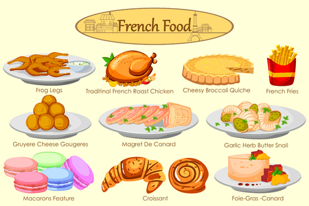 Collection of delicious French food in vector