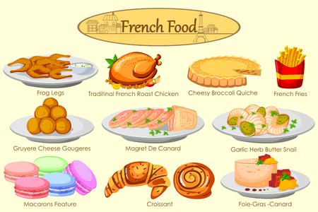 Raccolta di cibo delizioso francese in vettore Vettoriali