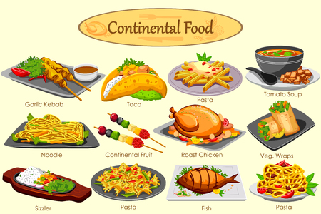 Collection of delicious Continental food in vector
