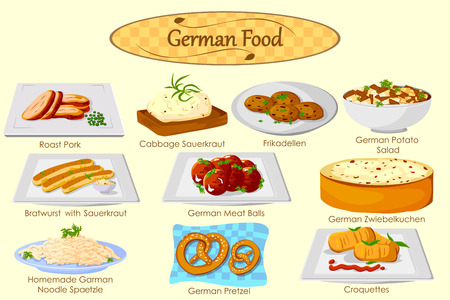 comida alemana: Colección de deliciosa comida alemana en el vector Vectores