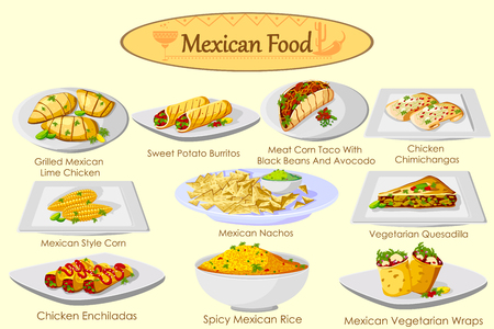cooked rice: Collection of delicious Mexican food in vector