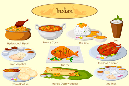 thali: Collection of delicious Indian food in vector