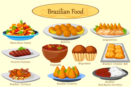 beans and rice: Collection of delicious Brazilian food in vector Illustration