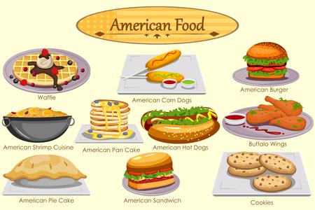 Het verzamelen van heerlijke Amerikaanse gerechten in vector