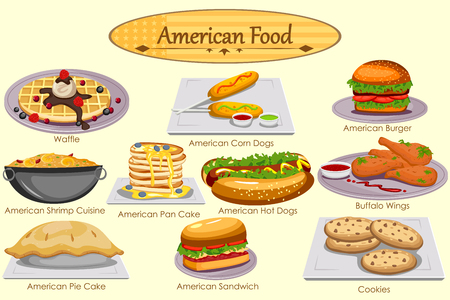 Collection of delicious American food in vector