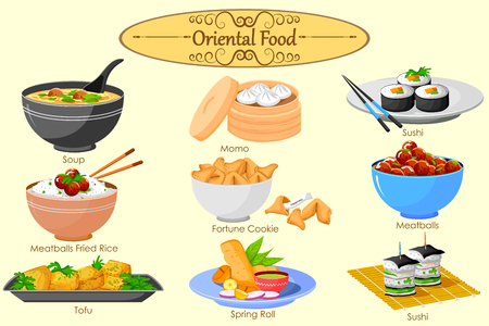 fried noodles: Collection of delicious Oriental food in vector Illustration