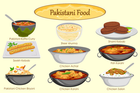 biryani: Collection of delicious Pakistani food in vector