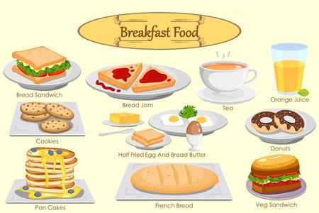 alimentacion balanceada: Colección de comida deliciosa desayuno en el vector
