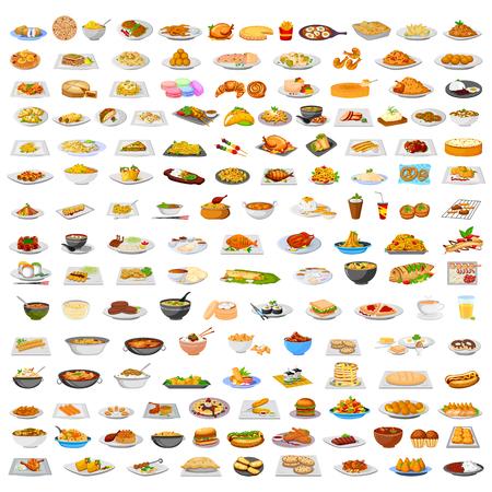 Het verzamelen van heerlijke gerechten uit de hele wereld in vector Stock Illustratie