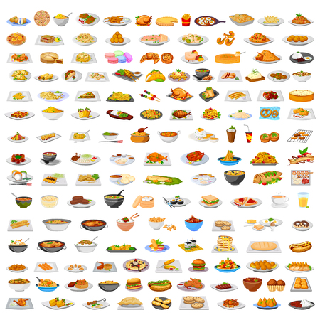Collection of delicious food from around the world in vector