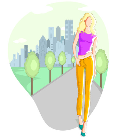 supermodel: Fashionable urban girl wearing mordern dress in vector
