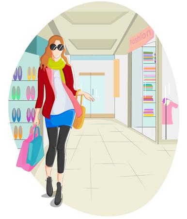 adolescence: Fashionable urban girl wearing mordern dress in vector