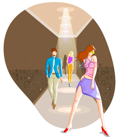moder: Fashionable urban couple wearing moder dress in vector Illustration