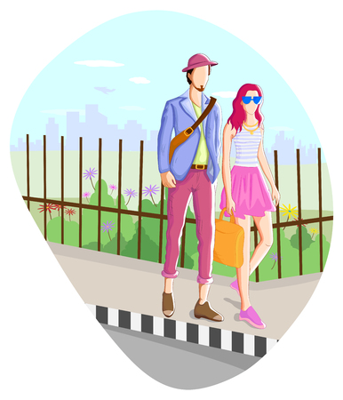adolescence: Fashionable urban couple wearing moder dress in vector Illustration