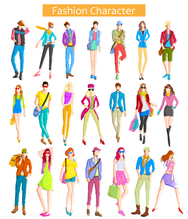 young boys: Fashionable urban and woman wearing moder dress in vector