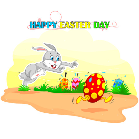 funny animal: Happy Easter holiday celebration background in vector Illustration
