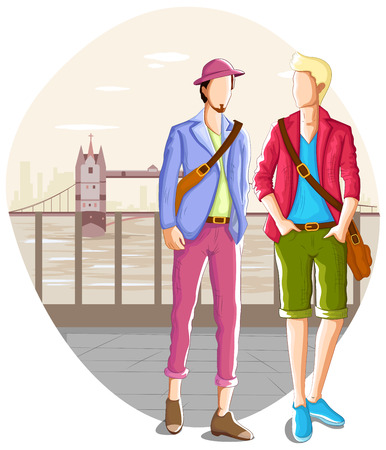 youngsters: Fashionable urban man wearing stylish modern cloth in vector