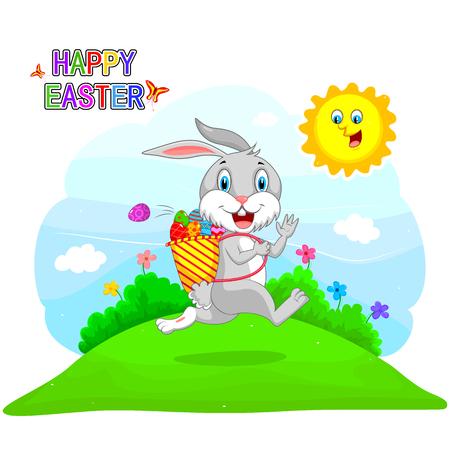 hunt: Happy Easter holiday celebration background in vector Illustration