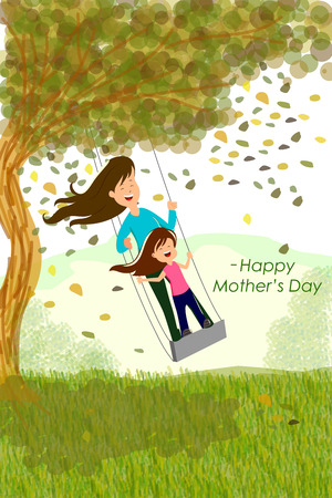 family playing: Happy Mothers Day background concept