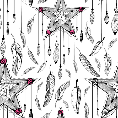 for a dream: Dream Catcher for Tribal boho style seamless pattern Illustration
