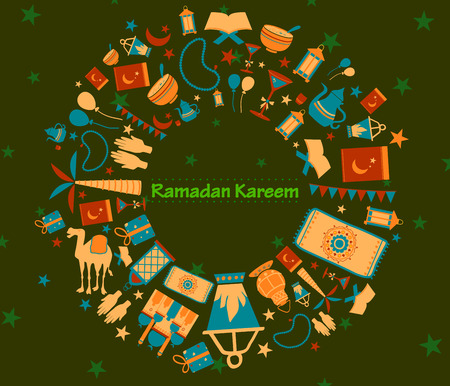 pakistani: Collage style Ramdan Kareem greetings background in vector