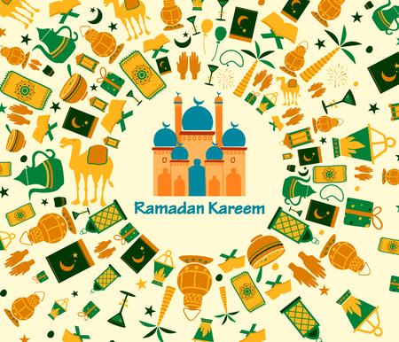 arabian food: Collage style Ramdan Kareem greetings background in vector