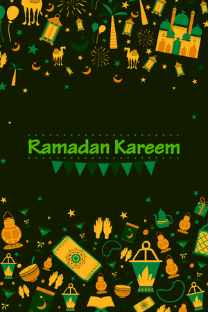rituals: Collage style Ramdan Kareem greetings background in vector