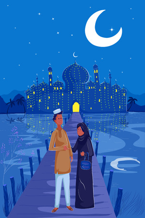 namaaz: Muslim family celebrating Eid in vector mosque backdrop