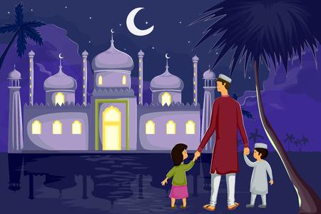 famiglia musulmana guardando la luna di Eid nel vettore