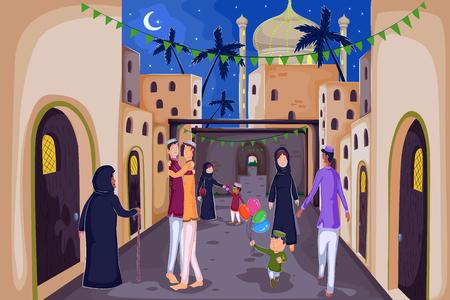 Muslim families wishing Eid Mubarak,Happy Eid in vector