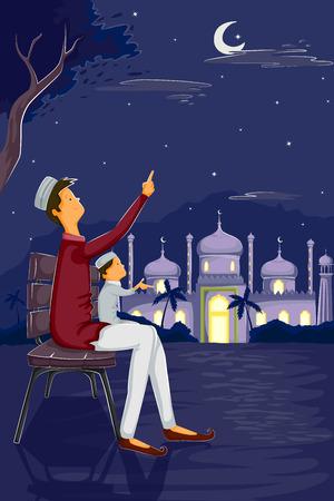namaaz: Muslim family watching moon of Eid in vector