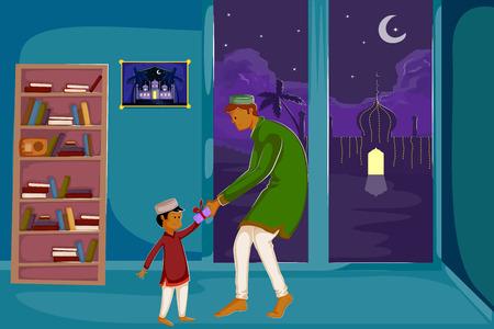relegion: Muslim family watching moon of Eid in vector