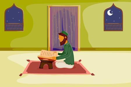 muslim pray: Muslim reading holy book Quran on Eid in vector Illustration