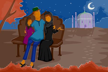 celebrating: Happy muslim family celebrating Eid in vector