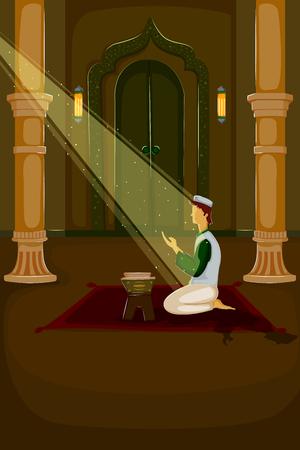 namaaz: Muslim offering namaaz on Eid in vector