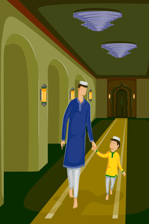 relegion: Muslim family celebrating Eid in vector mosque backdrop