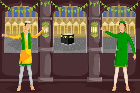 relegion: Muslim people wishing Eid Mubarak, Happy Eid in vector Illustration