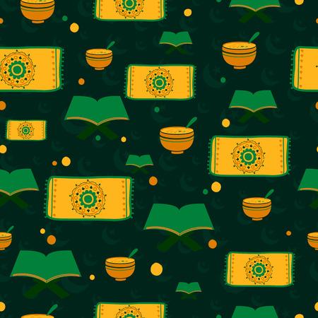 holiday prayer book: Ramdan Kareem seamless pattern background in vector Illustration