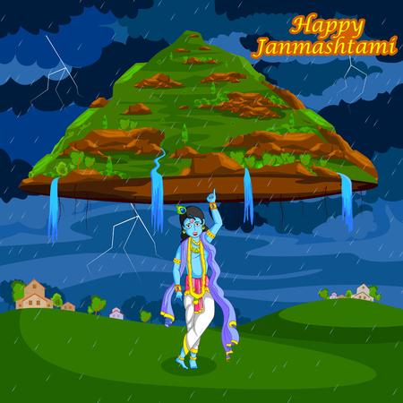 Krishna lifting mountain on Janmashtami background in vector