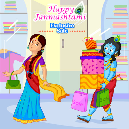 radha: Radha and Krishna doing Janmashtami sale shopping in vector