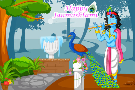 devotional: Krishna playing flute with peacock on Janmashtami background in vector