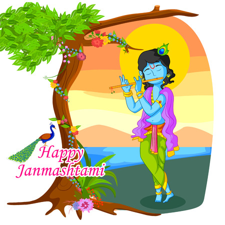 Krishna playing flute with peacock on Janmashtami background in vector