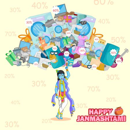 Krishna lifting mountain of product for Janmashtami sale background in vector