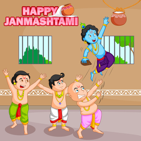 devotional: Krishna breaking dahi handi in Janmashtami background in vector
