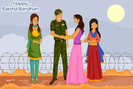 raksha: Girl tying Rakhi to soldier on Raksha Bandhan in vector